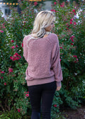 Brighter Days Ahead Popcorn V-Neck Sweater Mauve
