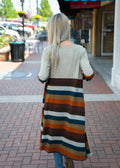 Counting on Forever Striped Cardigan Rust