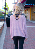 Dreaming of Forever Lace Up Sweater Blush