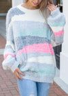 Enchant My Dreams Off Stripe Sweater Gray