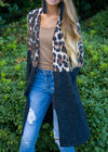 Fiercely Loved Long Knit Animal Print Cardigan Black