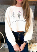 GROW POSITIVE THOUGHTS CROPPED PULLOVER