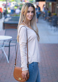 Habit of Joy V-Neck Knit Blouse Nude
