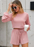 LET'S SLEEP IN RIBBED BLOUSE PINK