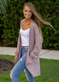 More Than Words Heathered Cardigan Blush