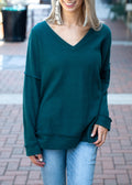 Peace of Mind Waffle Knit Blouse Hunter Green