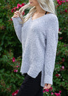 Simple Truths Popcorn V-Neck Sweater Gray