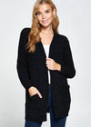 STARRY NIGHT STROLL CHENILLE CARDIGAN BLACK
