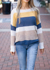 State of Mind Color Block Pullover Sweater Navy