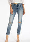 THE WHITNEY HIGH RISE HEM DETAIL MOM JEANS - MEDIUM WASH