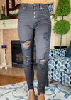 THE EMILY DISTRESSED SKINNY JEANS - BLACK