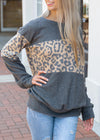 THINK OF ME LEOPARD PRINT CONTRAST SWEATER