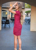 TOAST OF THE TOWN RUCHED DRESS BERRY
