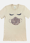 LASHES AND MASK GRAPHIC TEE TAN