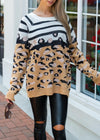 WILD FOR YOU MOCHA ANIMAL PRINT SWEATER