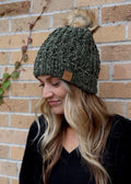WINTER WISHES CHENILLE BEANIE OLIVE