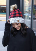 WINTER WISHES RED BUFFALO PLAID BEANIE