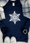 SPARKLE SNOWFLAKE GRAPHIC SWEATSHIRT NAVY