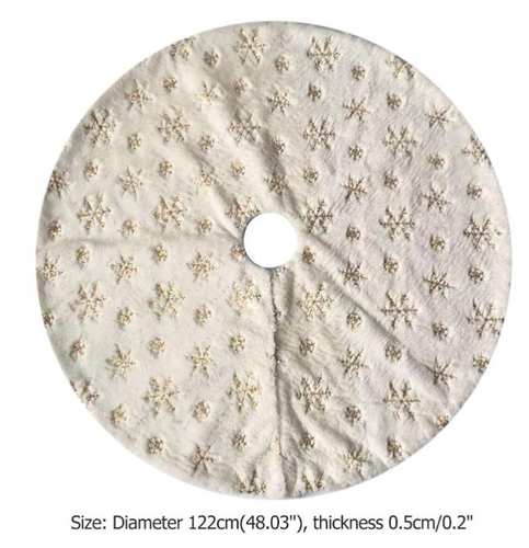 Luxury Christmas Tree Skirt with Embroidered Snowflake - Giftexonline