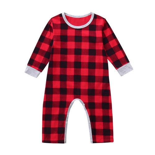 Infant Baby Boys Girls Christmas Santa XMAS Letter Plaid Romper Jumpsuit Outfits baby clothes winter clothe - Giftexonline