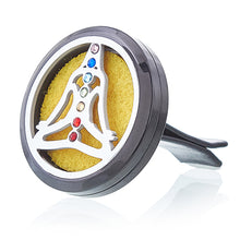 Load image into Gallery viewer, Car Diffuser Kit Pewter Yoga Chakra 30mm