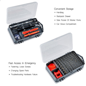 Magnetic screwdriver repair set (110 pc) for electronics and furniture assembly