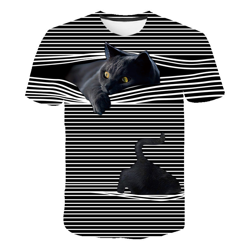 Printed 3D round neck short sleeve T-shirt cat lovers