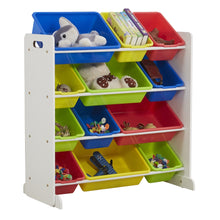 Load image into Gallery viewer, Toy storage  shelf with 12 storage trays included