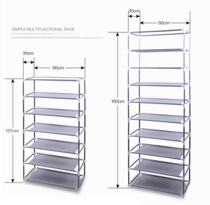 Fashionable Non-woven Fabric Shoe Rack Grey