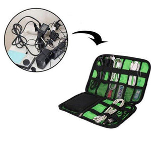 Space saver travel cable and charger organizer