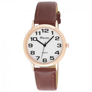 Ravel Gents Polished Round Case Brown Strap / RG CASE Watch R0105.42.1A