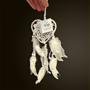 Vie Naturals Heart Shaped Dream Catcher, 9cm, White