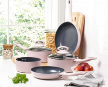 Load image into Gallery viewer, 5-Piece Matt Blush Pink with Grey Sparkle Ceramic Non-Stick Pan Set