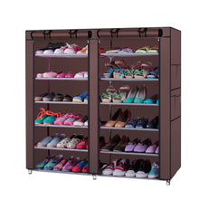 Load image into Gallery viewer, Fashionable 6-Row 2-Line 12 Lattices Non-woven Fabric Shoe Rack Coffee