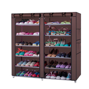 Fashionable 6-Row 2-Line 12 Lattices Non-woven Fabric Shoe Rack Coffee