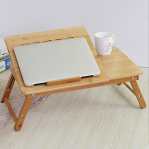 Great looking Adjustable bamboo foldable laptop table with cooling fans - Giftexonline