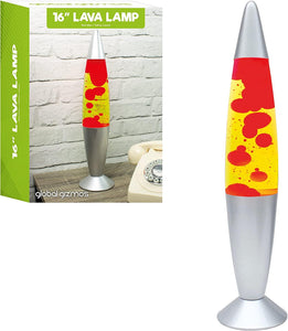 Global Gizmos 16 Inches Tall Red Wax/ Yellow Liquid Lava Lamp- 48850