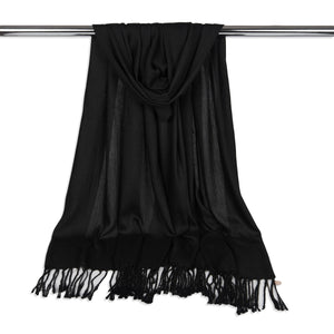 Long Line Pashmina Shawl Scarf Soft Touch in Black