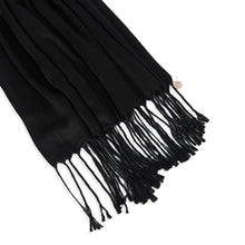 Load image into Gallery viewer, Long Line Pashmina Shawl Scarf Soft Touch in Black