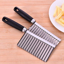 Load image into Gallery viewer, Potato French Fry Cutter Stainless Steel Kitchen Accessories Serrated Blade Easy Slicing Banana Fruits Potato Wave Knife Chopper