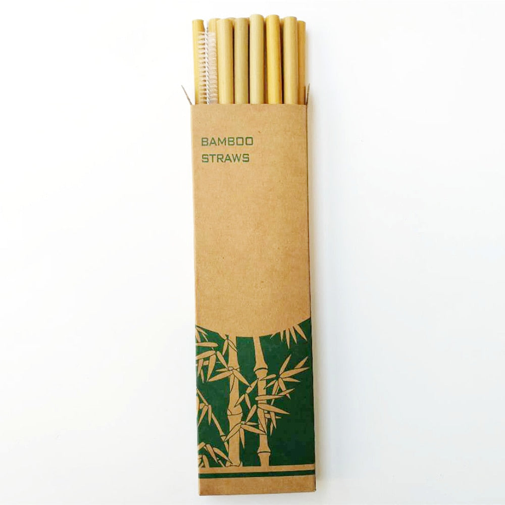 Reusable drinking straws with cleaning brush