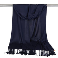Load image into Gallery viewer, Long Line Pashmina Shawl Scarf Soft Touch in Navy Blue