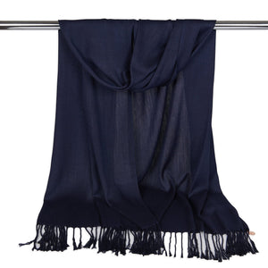 Long Line Pashmina Shawl Scarf Soft Touch in Navy Blue