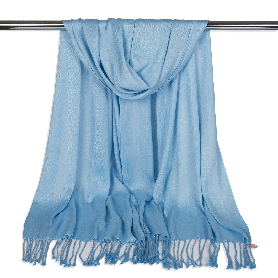 Long Line Pashmina Shawl Scarf Soft Touch in Sky Blue