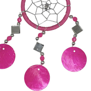 Vie Naturals Capiz Dream Catcher, No Feathers, 6cm, Pink