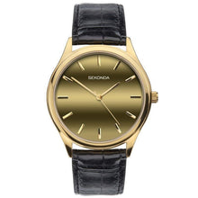Load image into Gallery viewer, Sekonda Men's Gold Dial Black leather Strap Watch 1536