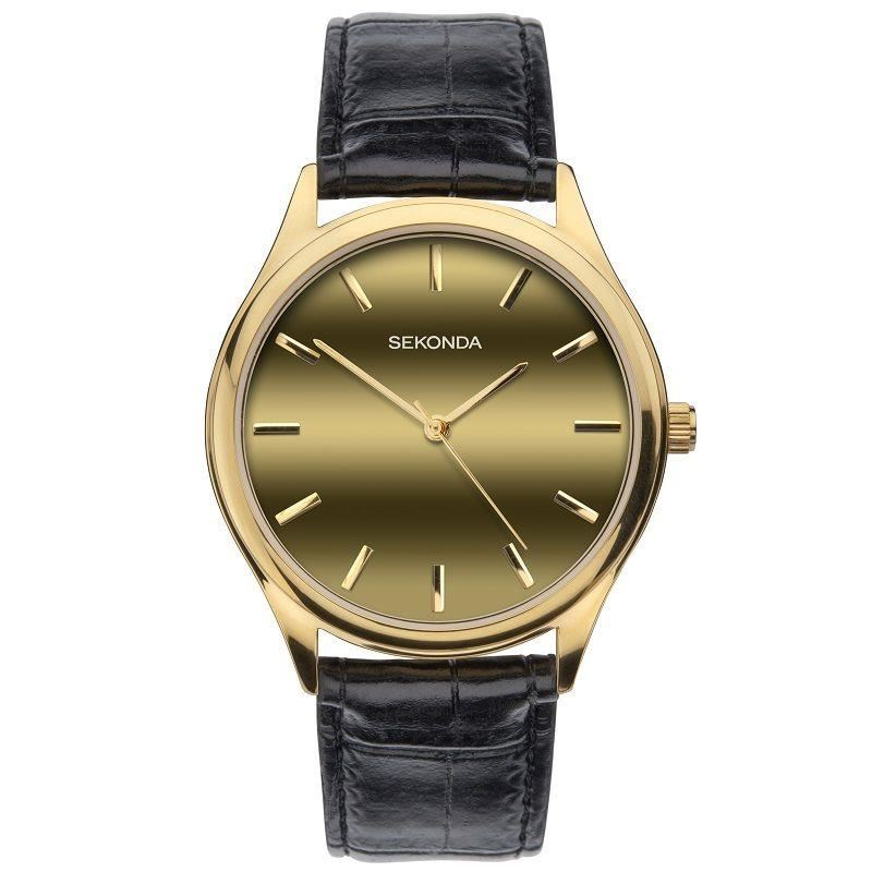 Sekonda Men's Gold Dial Black leather Strap Watch 1536