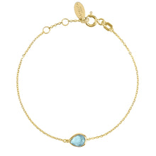 Load image into Gallery viewer, Pisa Mini Teardrop Bracelet Gold Blue Topaz