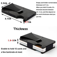 Load image into Gallery viewer, Carbon Fiber RFID Blocking Metal Wallet  with Money Clip Storage