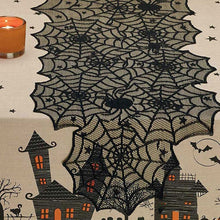 Load image into Gallery viewer, Halloween Spider Web Tablecloth